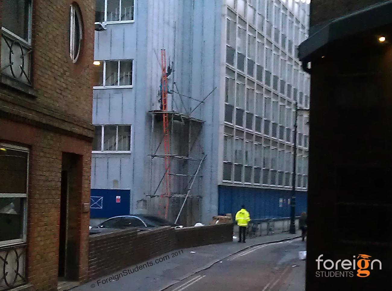 Scaffolding being taken down