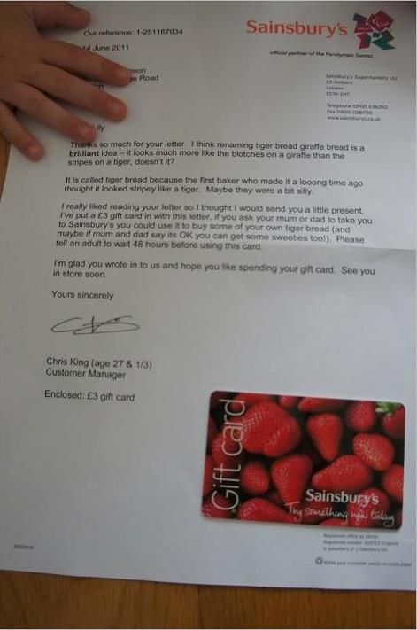 Sainsburys Letter Reply